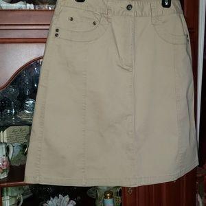 Talbots stretch alone midi khakis skirt